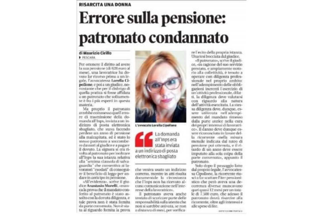 Errore sulla pensione: patronato condannato